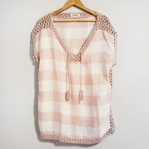 Listicle Tops - Listicle Plaid Knit Crochet Pullover Large